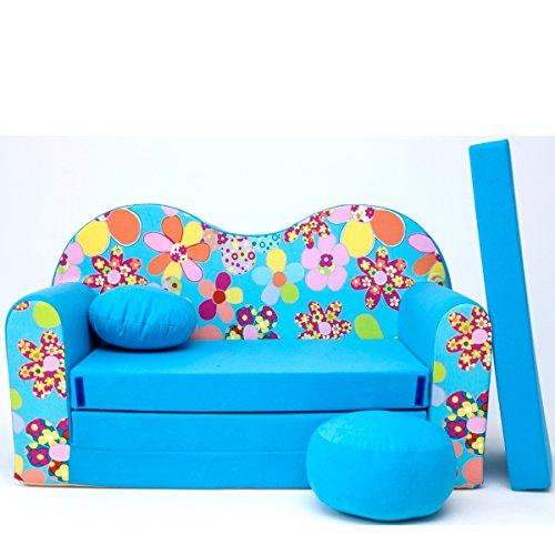 Barabike B13-e Bébés pour Enfants Mini Canapé bébé Canapé lit Pouf Lot de 3 en 1 d'oreillers en Mousse