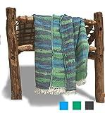 Drap de Hammam xxl ZANZI 100x200 cm Vert Bleu - Fouta de Plage Grande 100% Coton Doux de Haute Qualité - Foutas Design Unique ZusenZomer