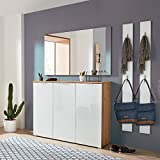 Komplett Garderobenset in Navarra-Eiche weiß, Schuhschrank mit weißer Glasfront, Spiegel und 2 Garderobenpaneelen
