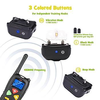 Collier de Dressage WOLFWILL P01 Totalement Etanche IP67 Portée 1500 Pieds pour Chien Collier Electrique Press & Act Tech avec Mode Bip/Vibration /Choc/Lumière LED ,Ecran LCD,Bouton Coloré