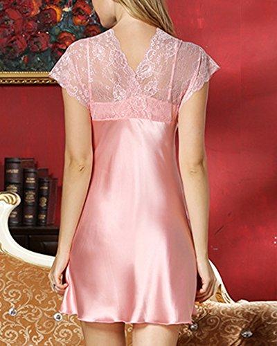 Donna V Neck Camicia da Notte - Vestaglie Pigiama Gonna Maniche Corte Pink