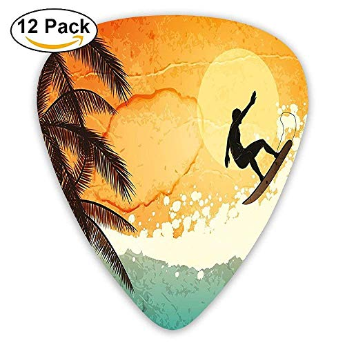 Illustration Of Tropical Island Surfer On Sea Waves And Palms At Sunset Guitar Picks 12/Pack