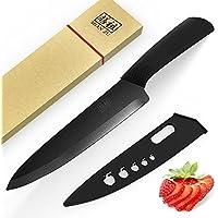 SHAN ZU Couteau en céramique 8 '' Black Zirconium Blade Black Wood Handle Matte Finish Couteau de cuisine (Poignée ergonomique)