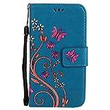 Coque Samsung Galaxy Grand Prime SM-G530 G531, Chreey Fantaisie [Embossé Papillon] Housse Étui de Protection en Cuir PU Premium Magnétique Portefeuille Flip Case Couverture avec Stand Porte Cartes [bleu]