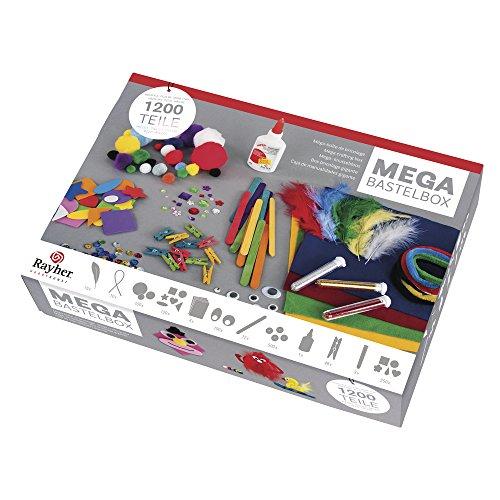 Rayher Hobby Mega Bastelbox 1200 Teile, diverse Bastel-Materialien, Starterset mit Raum für Phantasie -