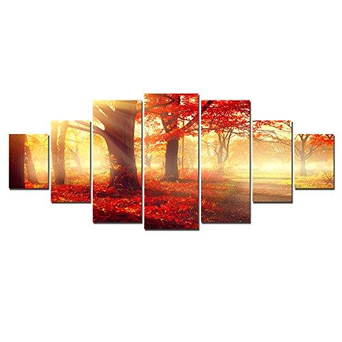 Startonight Leinwandbilder Großformatige Kunst Der rote Wald, Doppelansicht Modernes Dekor Gerahmte Kunstwerk 100% Ursprünglich Fertig zum Aufhängen XXL 7 teile 100 x 240 CM