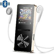 Reproductor Mp3 con Bluetooth 4.0, 8 GB Metal Reproductor de música de Hi-Fi Lossless Sonido con Radio FM, Color Dorado- AGPTEK A29TG