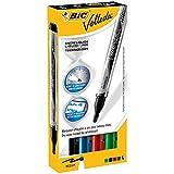 BIC Velleda - Caja de 4 marcadores para pizarra blanca, colores azul, negro, rojo y verde