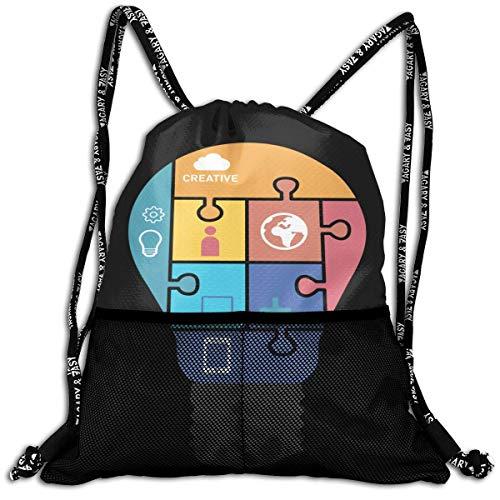 Juzijiang Light Bulb Puzzle Fashion Beam Mouth Shoulder Bag Travel Drawstring Backpack Shoulder for Unisex - Portfolio 5 Light