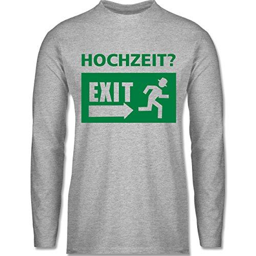 JGA Junggesellenabschied - Hochzeit Exit - Longsleeve / langärmeliges T-Shirt für Herren Grau Meliert