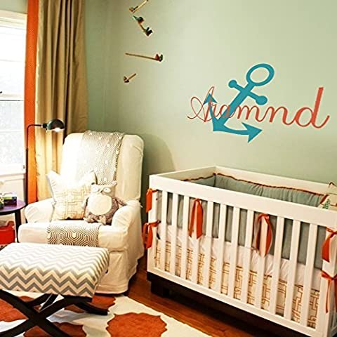 Anchor Name Wall Sticker Children Name Decals Nautical Wall Decal Baby Sailor Vinyl Wall Sticker Nautica Nursery Personalized Name Wall Art Decor by DigTour WallArt