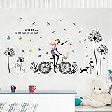 Wandaufkleber abnehmbare schwarze löwenzahn bunte schmetterling fahrrad mädchen diy wandaufkleber steuern dekor wohnzimmer wandtattoos wandbild