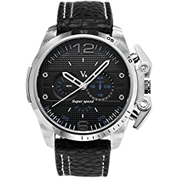 JSDDE Mens Sports Style Black Dial Silver Case Japanese Quartz Black Leather Band Watch 98FT/3ATM Water Resistant Business Casual