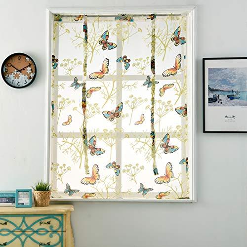 GWELL Schmetterling Raffrollo mit Tunnelzug Transparent Gardine Vorhang Voile Raffgardinen Schal für Kinderzimmer Schlafzimmer 1er-Pack 100 x 120 cm
