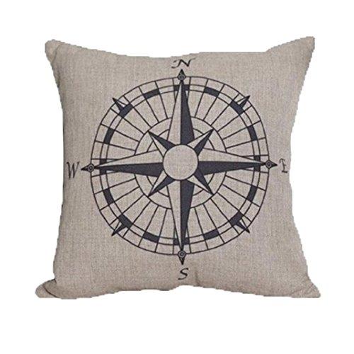 Kissenbezug Longra Kompass Leinen Kissenbezug Wohnkultur 45cm*45cm (Kompass1)