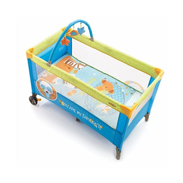 Jane Duo Level Travel Cot (Animal Dots) Jane, Inc. Suitable from birth to 3 years. 2 position base. The highest position is ideal for newborns and helps reduce the strain on your back when putting your baby down to sleep. Toy arch with toys included. 4
