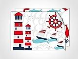 GRAZDesign 401052_2 Wandsticker Maritim Feeling | Wandtattoo Nordsee mit Möwen | Fliesen-Aufkleber Set für Badezimmer (DIN A4 (2Stück))