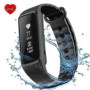 OMorc Fitness Tracker Braccialetto Sport Activity Tracker IP68 Impermeabile Bluetooth 4.0 Contapassi Cardiofrequenzimetro, Sonno Monitoraggio, Calorie, Notifiche Chiamate, per iOS 8.0 o Superiore, Android 4.4 o Sopra, Nero