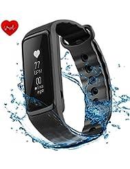 VicTsing Weloop Pulsera de Actividad con Monitor de Ritmo Cardiaco, Resistente al Agua Impermeable IP68, Podómetro, Monitor de Sueño, Contador de Calorías, Perfecto para iPhone iOS Android Móviles