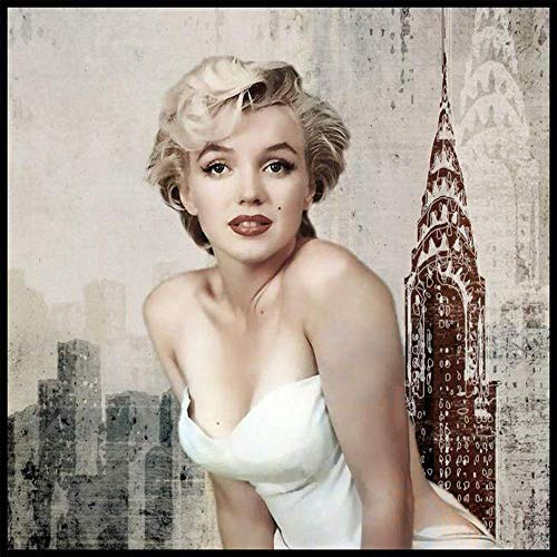 DIY 5D Diamond Painting by Number Kit for Adult,Full Drill Diamond Painting Marilyn Monroe,Embroidery Cross Stitch Arts Craft Home Wall Decoration,11.8×15.7in (Monroe Frames Marilyn Picture)