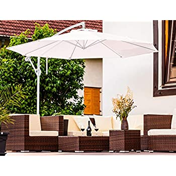 Enrico Coveri Garden Ombrellone Acciaio Con Palo Laterale 3 Metri Bianco Perfetto Per Arredo Giardino Terrazza Esterno Bar E Hotel