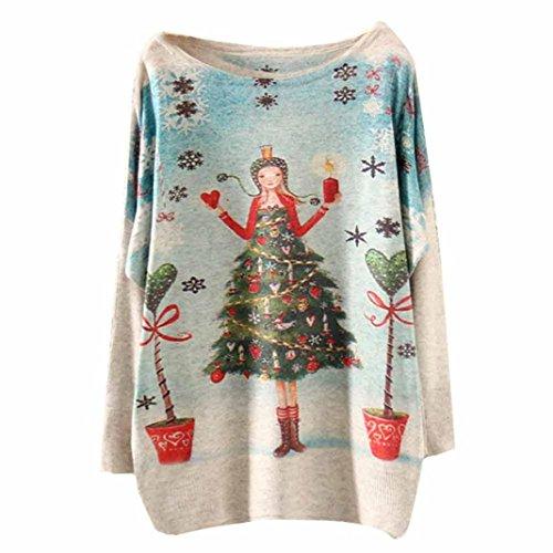 *Weihnachten Cardigan Damen AMUSTER Weihnachten Drucken Sweatshirt Herst Winter Pulli Weihnachtspullover Casual Pullover Lang Ärmel Oberteile Outwear (Free Size, G)*