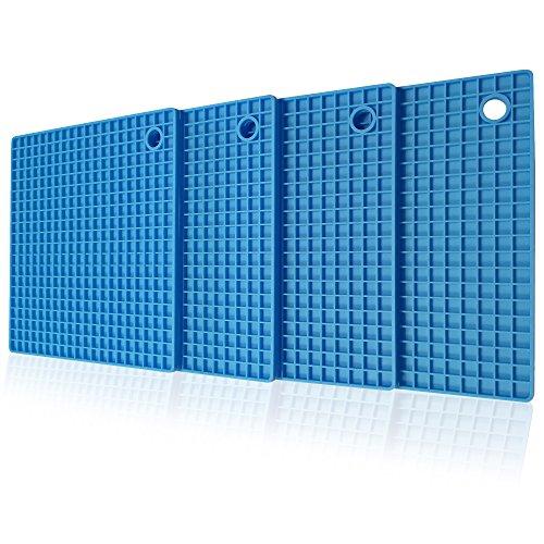 cb-seven's 4-in-1 Profi Silikon Topfuntersetzer / Topflappen, Set (4 Stück), hohe Qualität, 4 Farben wählbar, multifunktional, langlebig, spülmaschinenfest, 8 mm stark