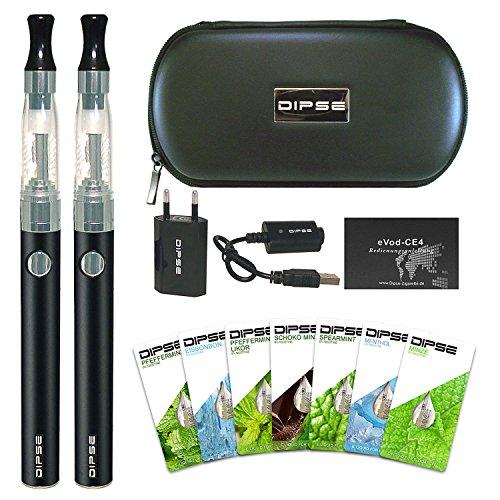 DIPSE E Zigarette/e Shisha Starterset - 2x eGo-T eZigarette mit 1100mAh Evod, Ladestandsanzeige, CE4 Verdampfer - inklusive 7 x 1,5ml Liquid Einsteigerset ohne Nikotin (0,0mg)