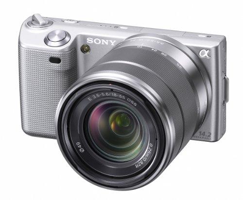 Sony NEX-5KS Systemkamera (14 Megapixel, 7,5 cm (3 Zoll Display), Live View, Full HD Videoaufnahme) Kit silber inkl. 18-55mm Objektiv (Nex 5 Sony)