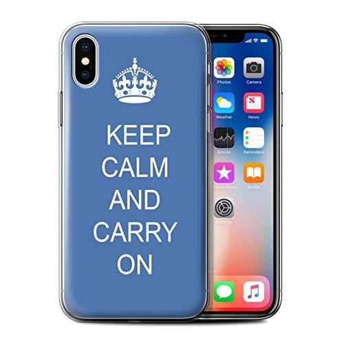 Stuff4 Gel TPU Hülle / Case für Apple iPhone X/10 / Einkaufen Gehen/Rosa Muster / Bleib Ruhig Kollektion Mach Weiter/Blau
