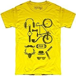 PACDESIGN - Camiseta - para hombre amarillo XL