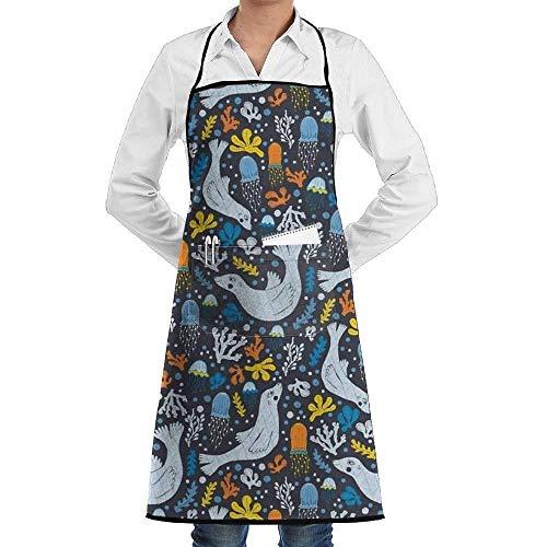 Sangeigt Küche, die Garten-Schürze kochtn, Sea Lions Tile Apron with One Big Pocket,Commercial Restaurant, Kitchen ()