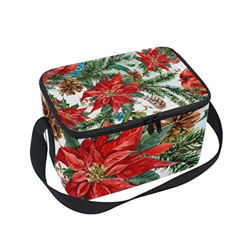 tizorax Weihnachten Floral mit Cardinals Isolierte Lunchtasche Lunchbox Kühler Tasche für Männer Frauen Kinder
