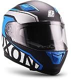 "Soxon  ST-1000 Race ""Blue"" (Blau)  Integral-Helm  Sturz-Helm Scooter-Helm Motorrad-Helm Cruiser Full-face Roller  ECE zertifiziert  inkl. Sonnenvisier  Click-n-Secure Verschluss  L (59-60cm)"