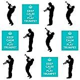 AKGifts Lot de 12décorations comestibles pour cupcakes Thème «Keep Calm and Play Trumpet»