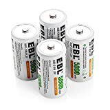 EBL 5000mAh Ni-MH C Size Rechargeable Batteries with Storage Cases, Pack of 4