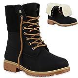 Warm Gefütterte Damen Schuhe Boots Outdoor Stiefel Stiefeletten 125734 Schwarz Carlet 38 Flandell
