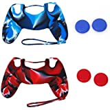 Generic 2 x Silicone Case Cover + 2 Pairs of Replacement Joystick Thumbstick Caps for PlayStation 4 PS4 Controller [Importación Inglesa]