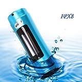 E-Plaza tragbar 4GB Aluminiumlegierung Shell wasserdicht IPX8 MP3 Musik-Player mit FM-Radio und OLED-Display + Armbinde für Unterwasser-Schwimmen Sport Surfing – Blau