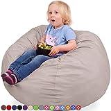 Kids Kinder Sitzsack in Beige - Waschmaschinenfest - Großer, Weicher und Komfortabler Bezug mit Memory Schaumstoff Füllung - Gemütlicher Gaming Sitz Sack & Bett Möbel Bean Bag