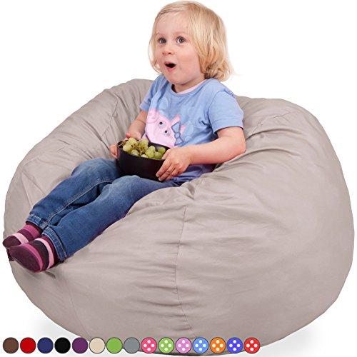 Kids Kinder Sitzsack in Beige - Waschmaschinenfest - Großer, Weicher und Komfortabler Bezug mit...