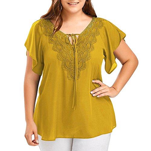 OVERDOSE Damen Mode Casual Chiffon Plus Size Curve Appeal Spitze V-Ausschnitt T-Shirt Bluse Kurze Fledermaus Ärmel Sommer Tops Tees - Kostüm Paare Plus Größe