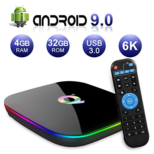 Android TV Box,Q Plus Android 9.0 TV Box 4GB RAM/32GB ROM H6 Quad-Core Support 2.4Ghz WiFi 6K HDMI DLNA 3D Smart TV...