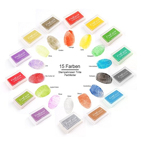 stempel-tinteyoulanda-15-farbenmehrfarbigestempelkissen-setstempelkissen-fuer-papier-handwerk-stoff-