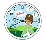 Wanduhr mit Wunsch- Namen für Kinderzimmer ; einzigartige Kinderuhr ; Rahmen weiß ; Kinder Wanduhr mit oder ohne Namen auf Wunsch personalisiert ; Uhr - Motiv Prinzessin