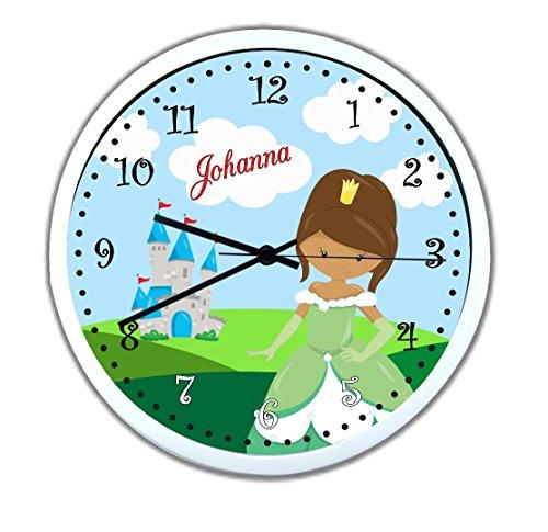 Wanduhr mit Wunsch - Namen für Kinderzimmer ; einzigartige Kinderuhr ; Rahmen weiß ; Kinder Wanduhr ohne ticken mit oder ohne Namen auf Wunsch personalisiert ; Uhr - Motiv Prinzessin (Prinzessin Sweep)