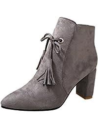 Femmes Chaussures,Sonnena Bottes Femme Automne Hiver Bottines Courtes Cuir Bottines  Plates Fourrées 3186b257114e