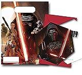 6 Stück Einladungskarten * 6 Stück Partytüten - Star Wars VII - Das Erwachen der Macht - The Force Awakens