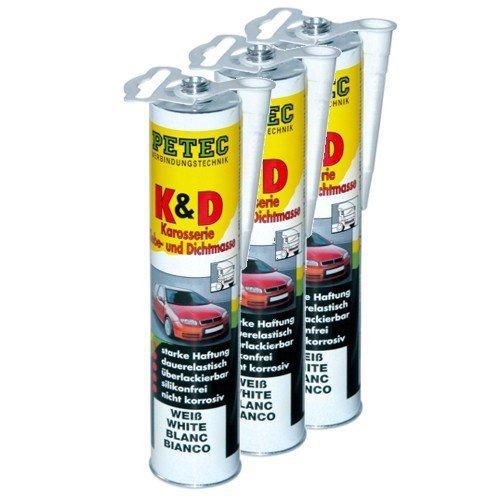 Preisvergleich Produktbild 3x PETEC K&D Karosserie Klebe- und Dichtmasse Klebemasse Dichtmasse Karosseriekleber Klebstoff Kleber Kartusche 310ml weiß