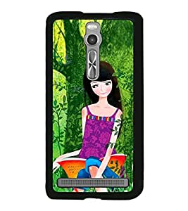 Fuson Premium 2D Back Case Cover Girl under tree With Multi Background Degined For Asus Zenfone 2::Asus Znfone 2 ZE550ML